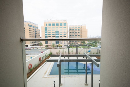 Pool View from Terrace | Vacant and Open Unit